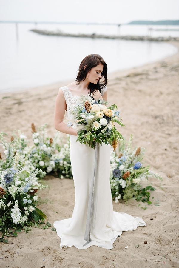 Coastal romantic bride with ceremony floral ring