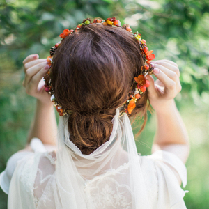 Fall Bridal Flower Crown Back