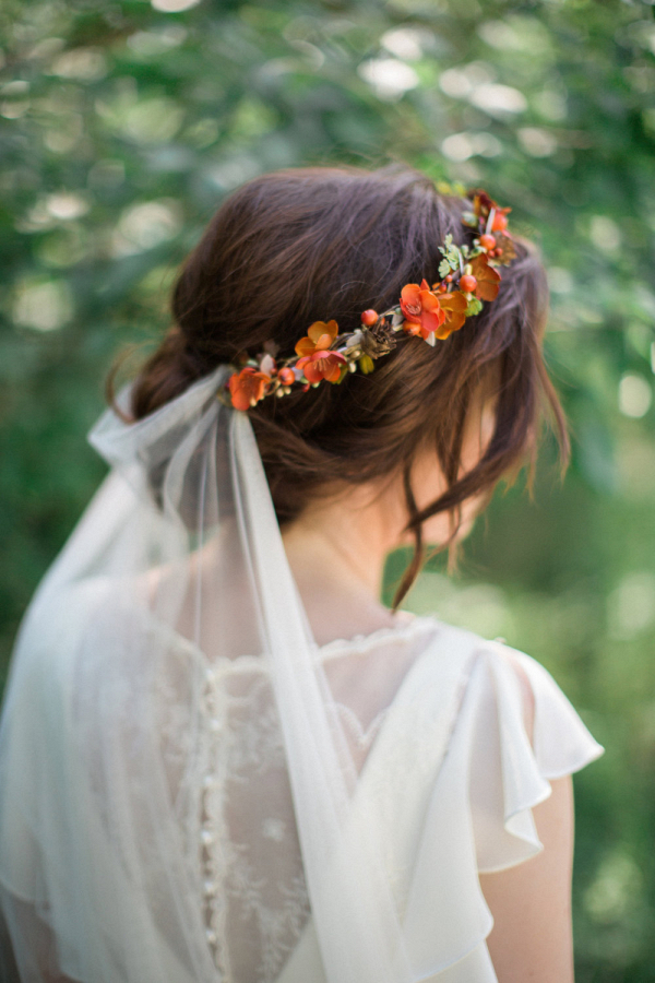 Fall Silk Flower Bridal Flower Crown Back