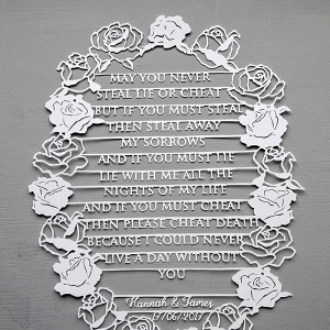 Handmade Papercut Wedding Vows