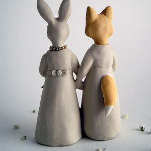 Fox & Rabbit Same Sex Wedding Cake Topper