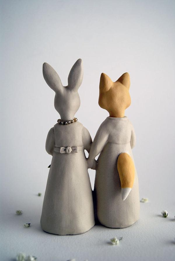 Fox & Rabbit Same Sex Wedding Cake Topper