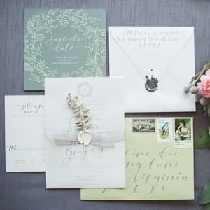 Sage green calligraphy invitations