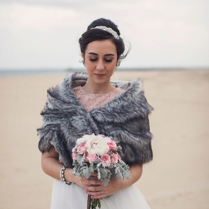 Winter beach bride in Anthropologie