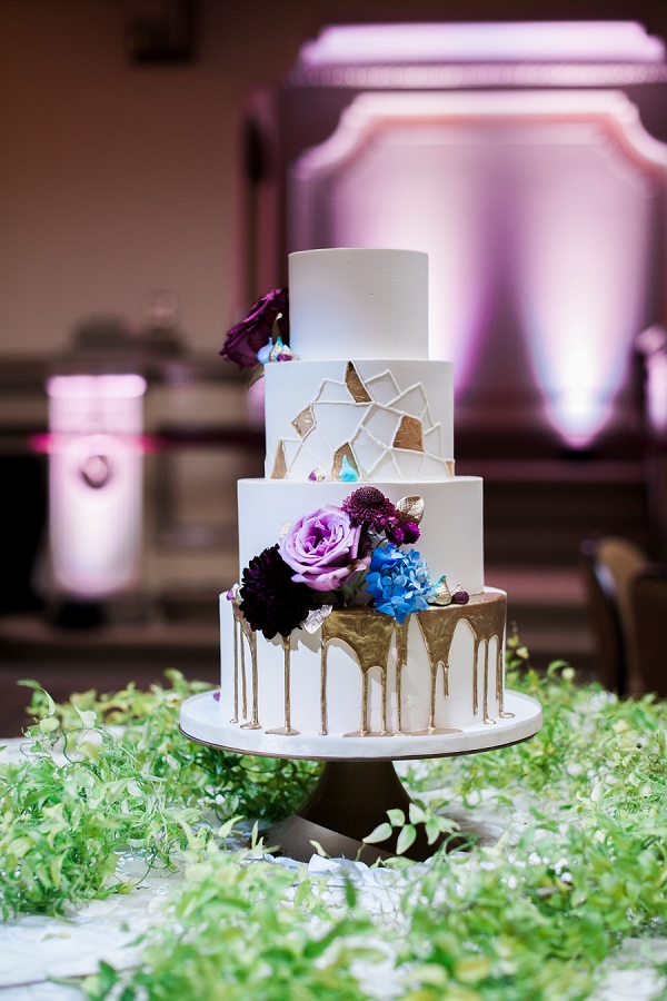 Gold Drippy Wedding Cake