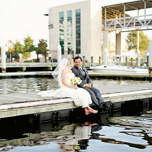 Waterside bride and groom