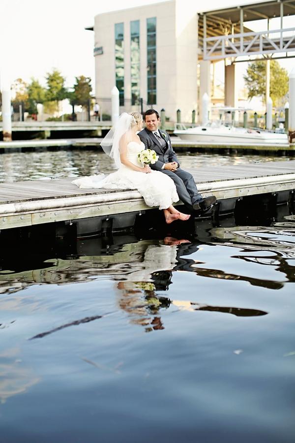 Waterside bride and groom