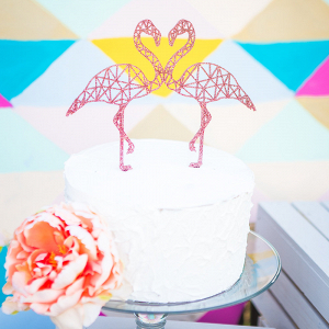 Geometric Flamingo Cake Topper