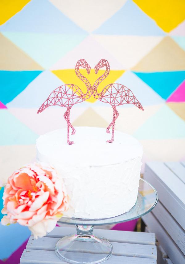 Geometric Flamingo Cake Topper