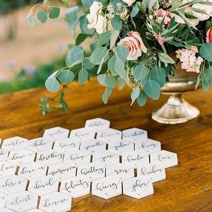 Geometric Marble Wedding Escort Cards