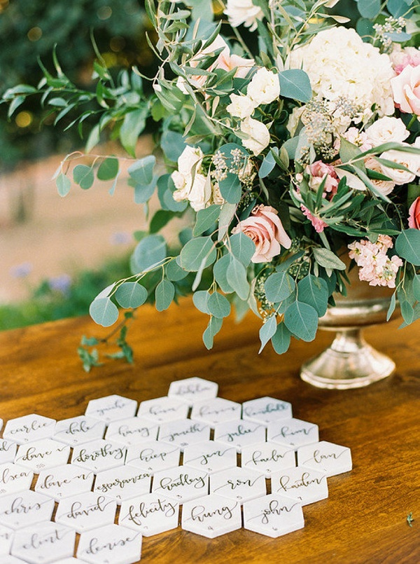 Geometric Marble Wedding Escort Cards