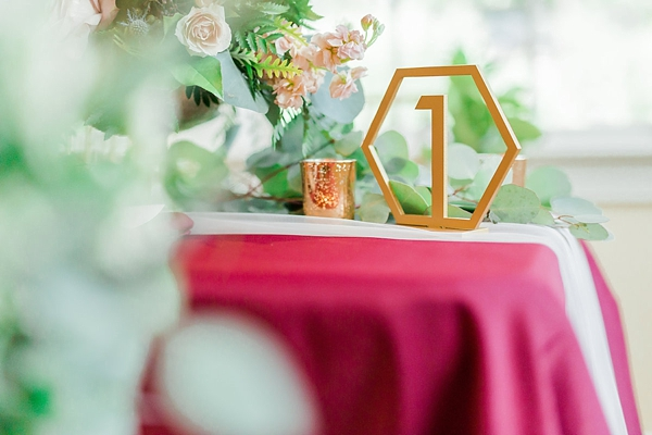 Geometric gold wedding table number