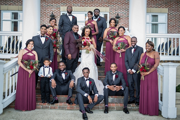 Glamorous Burgundy Red Wedding Party