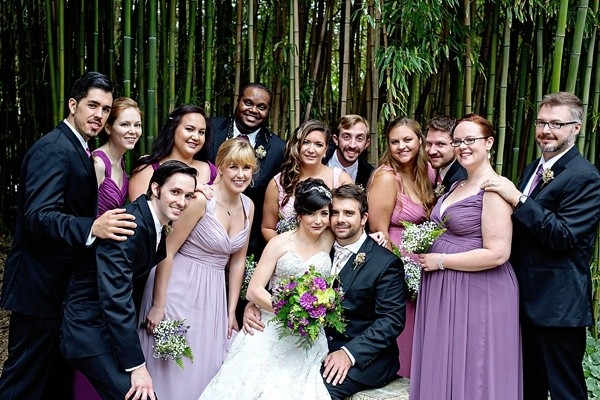 Wedding party in forest