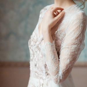 Gloria Long Lace Sleeve Wedding Dress