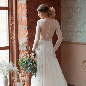 Gloria Long Sleeve Wedding Dress Back