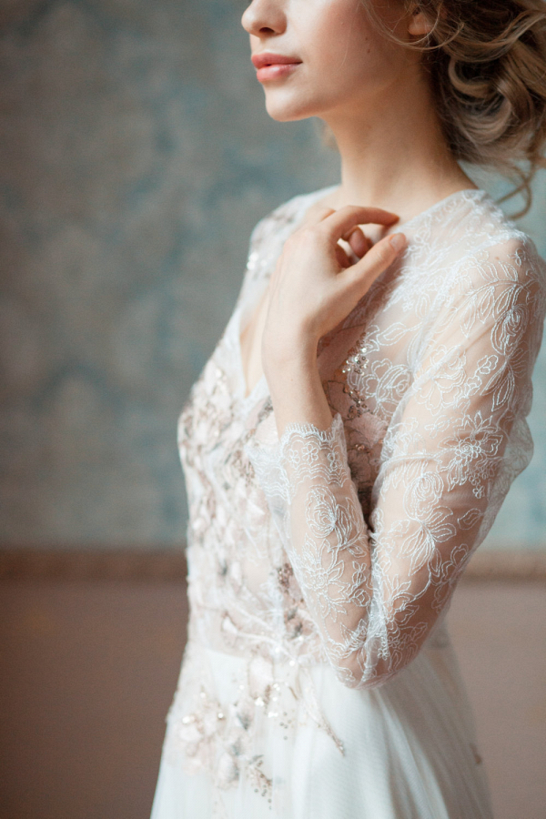Gloria Long Lace Sleeve Wedding Dress