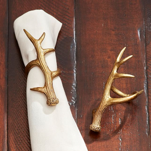 Gold Antler Napkin Ring Set