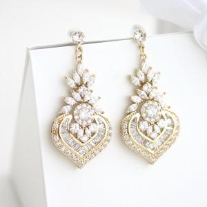 Gold Crystal Drop Earrings