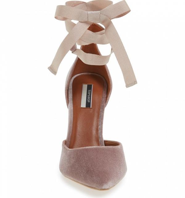 Blush Velvet Bridesmaid Shoes