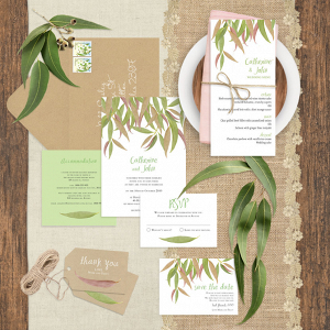 Gum Leaf Wedding Invitation Suite