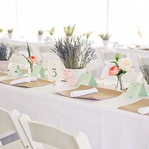 Lavender clay pots centerpieces