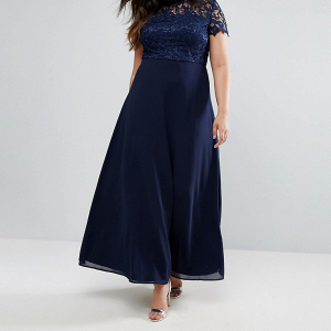High Neck Maxi Dress with Crochet Lace