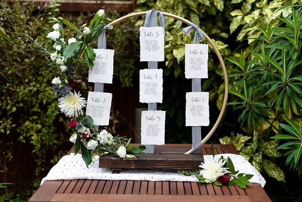 DIY Homemade Hula Hoop Wedding Seating Chart
