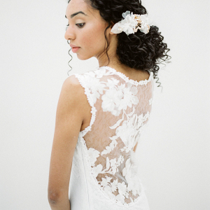 Romantic Lace Illusion Back Wedding Dress