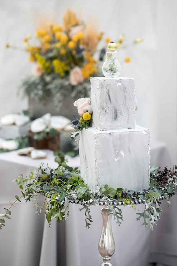 Concrete looking wedding cake