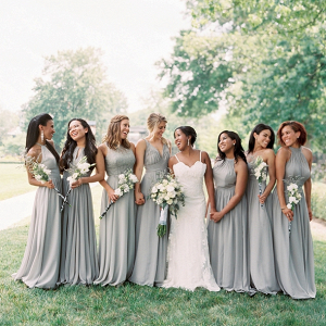 Bridesmaids in Gray Dresses
