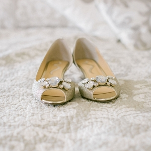 Glitter gold bridal shoes