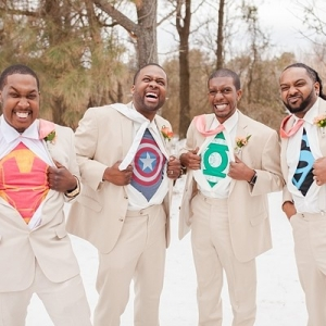 Superhero groom and groomsmen
