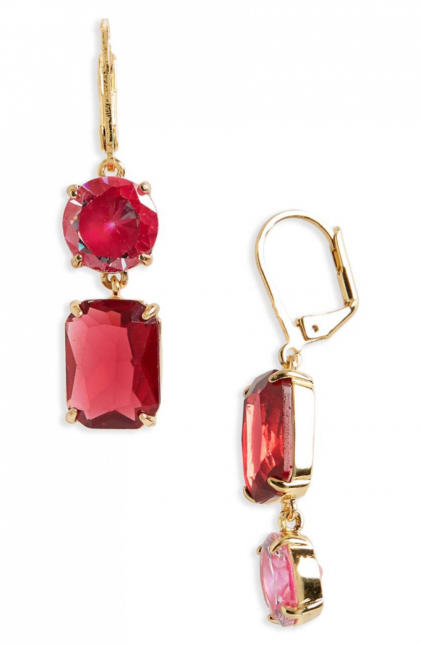 Red Kate Spade Mismatched Drop Earrings