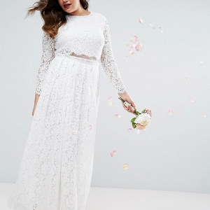 Plus Size Lace Long Sleeve Wedding Dress