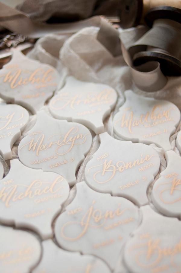 Lantern marble Wedding Place Cards