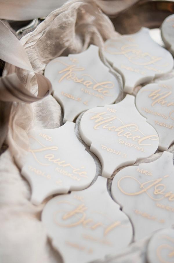 Calligraphy Marble Wedding Escort Cards