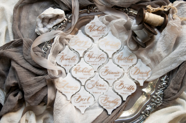 Calligraphy Marble Wedding Place Cards