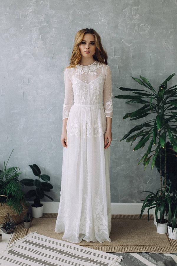 long sleeve boho wedding dress aisle society. Black Bedroom Furniture Sets. Home Design Ideas