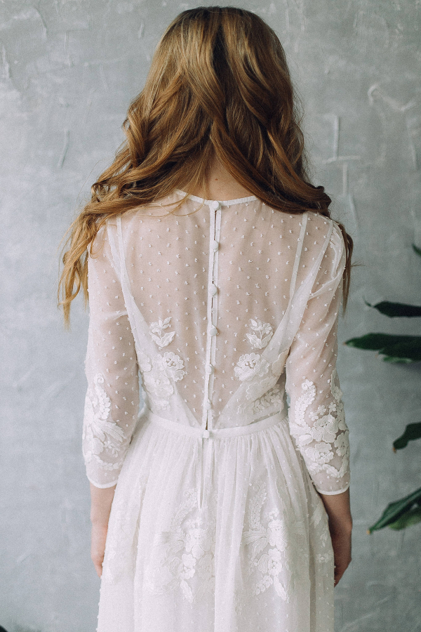 Long Sleeve Boho Wedding Dress Back