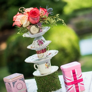 Topsy turvy stacked teacups