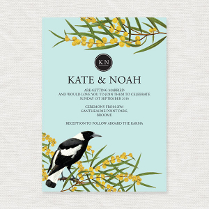 Magpie & Wattle Wedding Invite