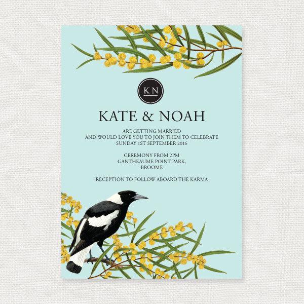 Magpie & Wattle Wedding Invite