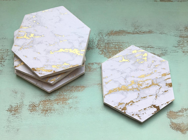 Gold and White Marble Coasters