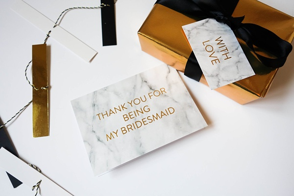 Marble thank you cards for bridesmaids