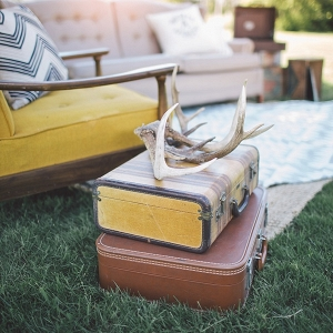 Hipster engagement session with vintage furniture