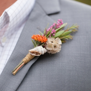Coastal boutonniere with seashell