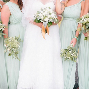 Mint and white bridesmaid dresses