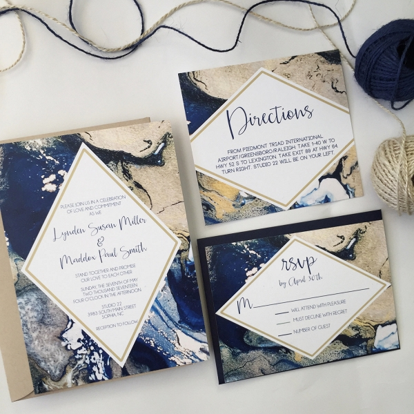 Modern Marble Wedding Invitation Suite