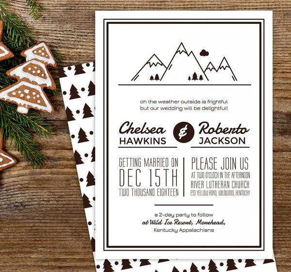 Modern Winter Wedding Invite